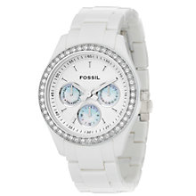 Buy Fossil ES1967 Ladies Stella Glitz Round Face White Watch Online at johnlewis.com