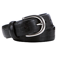 Buy John Lewis Croc Smart Leather Belt, Black Online at johnlewis.com