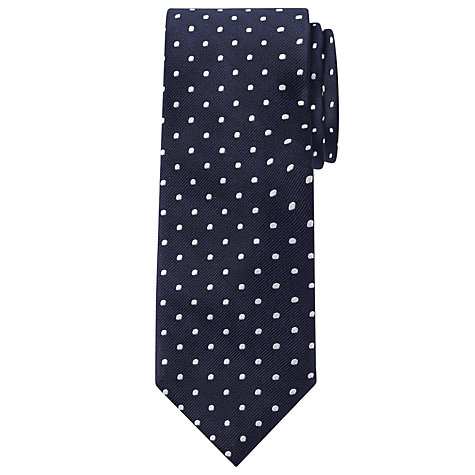 Buy John Lewis Spotted Navy Tie, White Online at johnlewis.com