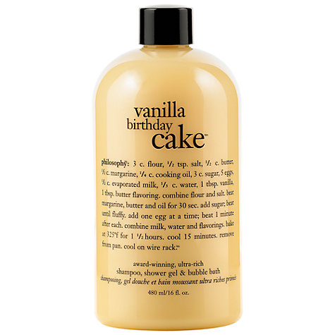 Buy Philosophy Vanilla Birthday Cake 3 in 1 Shower Gel, 480ml Online at johnlewis.com