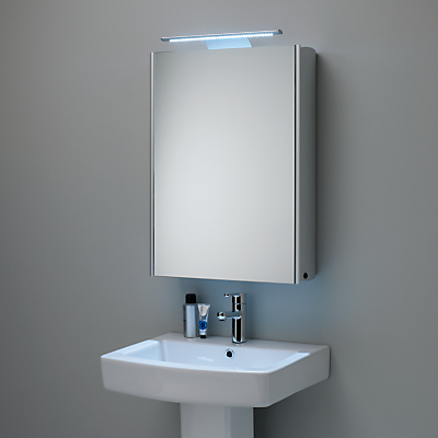 Roper Rhodes Equinox Illuminated Single Mirrored Bathroom Cabinet with Double-Sided Mirror, Aluminium