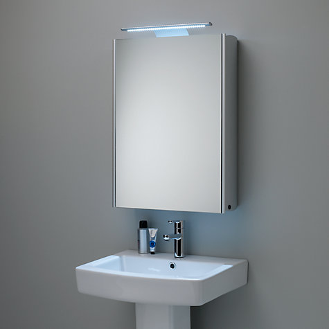 illuminated single mirrored bathroom cabinet with double sided mirror