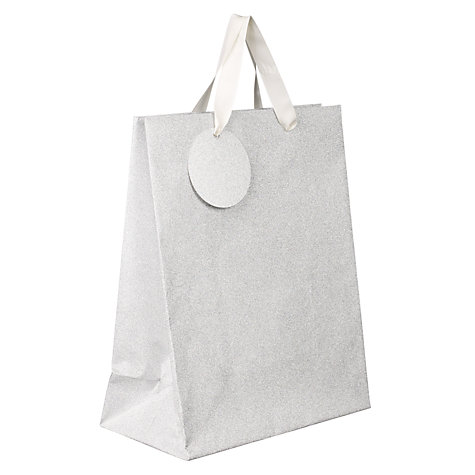 Buy John Lewis Silver Glitter Gift Bag, Medium Online at johnlewis.com