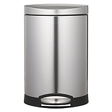 Buy simplehuman Deluxe Semi-Round Pedal Bin, Brushed Stainless Steel, 6L Online at johnlewis.com