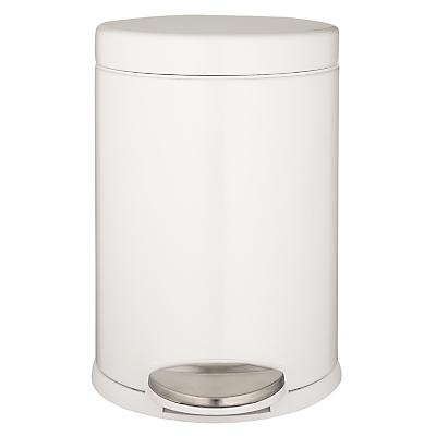 simplehuman Round Pedal Bin, White, 3L