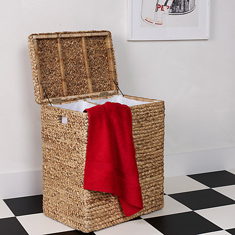 Buy John Lewis Water Hyacinth Linen Basket, Double Online at johnlewis.com