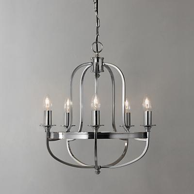 John Lewis Warwick Ceiling Light, Brushed Chrome, 5 Arm