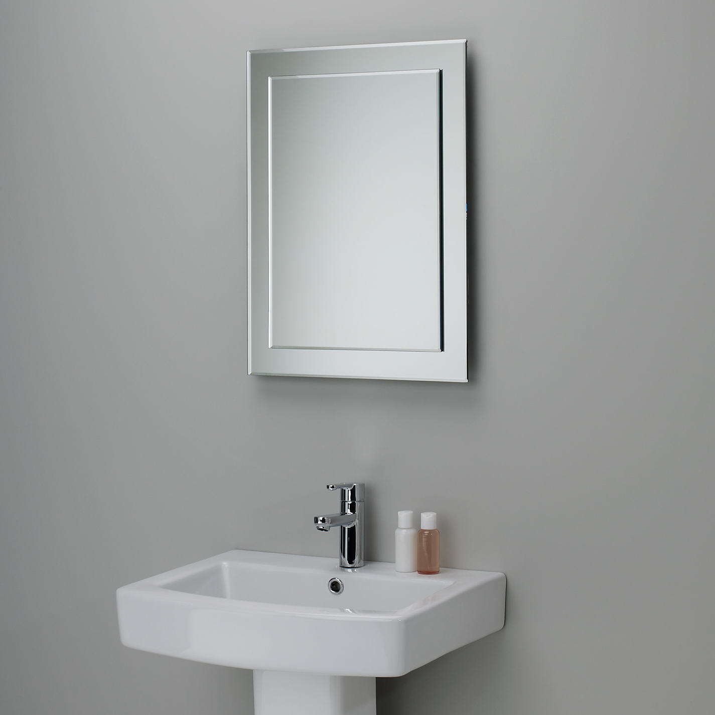 Bevelled Bathroom Mirror Foremost Bellani 24u0026quot Premium White Mirror Bathroom Mirrors