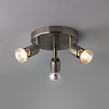 Buy John Lewis The Basics Keeley 3 LED Spotlight Ceiling Plate, Satin Nickel Online at johnlewis.com