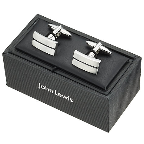 Buy John Lewis Stripe Oblong Cufflinks, Black Online at johnlewis.com