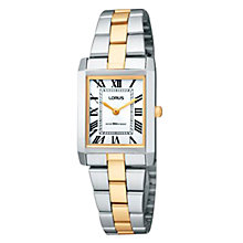 Buy Lorus RTA03AX9 Women's Square Roman Numeral Dial Two-Tone Bracelet Watch, Gold/Silver Online at johnlewis.com