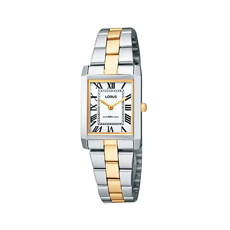 Buy Lorus RTA03AX9 Women's Square Roman Numeral Dial Two Tone Gold/Silver Bracelet Watch Online at johnlewis.com