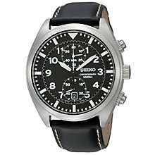 Buy Seiko SNN231P2 Men's Black Leather Strap Chronograph Watch Online at johnlewis.com