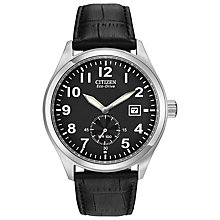 Buy Citizen BV1060-07E Men's Eco-Drive Leather Strap Watch, Black Online at johnlewis.com
