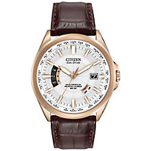 Buy Citizen CB0013-04A Men's Eco-Drive World Perpetual Leather Strap Watch, Brown/White Online at johnlewis.com