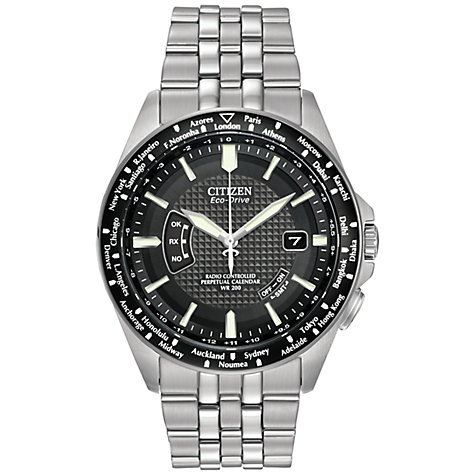 Buy Citizen Eco-Drive CB0020-50E Men's World Perpetual Black Dial Stainless Steel Bracelet Watch Online at johnlewis.com