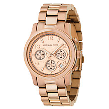 Buy Michael Kors MK5128 Women's Runway Chronograph Bracelet Watch, Rose Gold Online at johnlewis.com