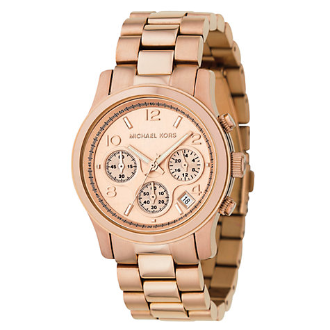 Buy Michael Kors MK5128 Women's Runway Chronograph Bracelet Strap Watch, Rose Gold Online at johnlewis.com