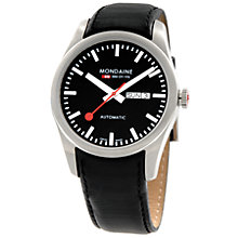 Buy Mondaine A1353034514SBB Men's Retro Round Black Dial Automatic Black Leather Strap Watch Online at johnlewis.com