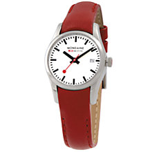 Buy Mondaine A6293034111SBCXL Women's Retro Round White Dial Red Leather Strap Watch Online at johnlewis.com