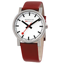 Buy Mondaine A6603034411SBC Unisex Evo Leather Strap Watch, Dark Red/White Online at johnlewis.com