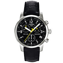 Buy Tissot T17152652 Men's Chronograph Round Black Dial Leather Strap Watch Online at johnlewis.com