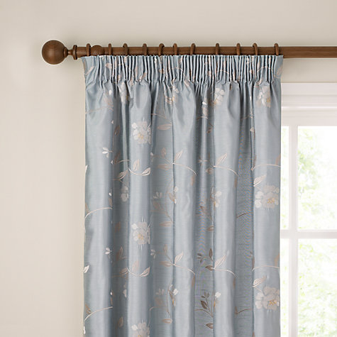 Buy John Lewis Pemberley Rose Lined Pencil Pleat Curtains, Duck Egg Online at johnlewis.com