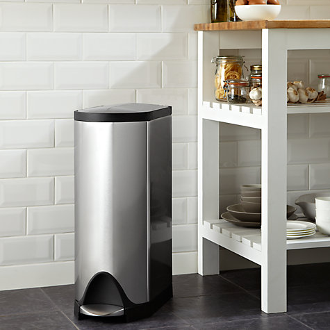 Buy simplehuman Deluxe Butterfly Pedal Bin, Brushed Stainless Steel, 30L Online at johnlewis.com