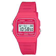 Buy Casio F-91WC-4AEF Unisex Core Digital Chronograph Rectangular Dial Pink Rubber Strap Watch Online at johnlewis.com
