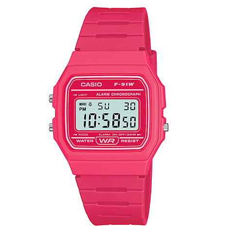Buy Casio Unisex Core Digital Chronograph Rectangular Dial Rubber Strap Watch Online at johnlewis.com