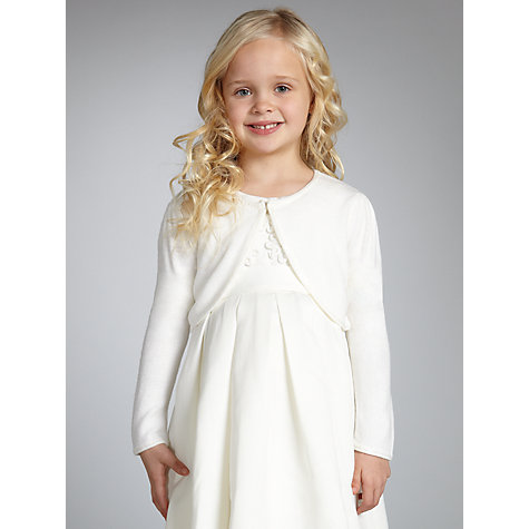 Buy John Lewis Girl Sequin Edge Bridemaid Cardigan, Cream Online at johnlewis.com