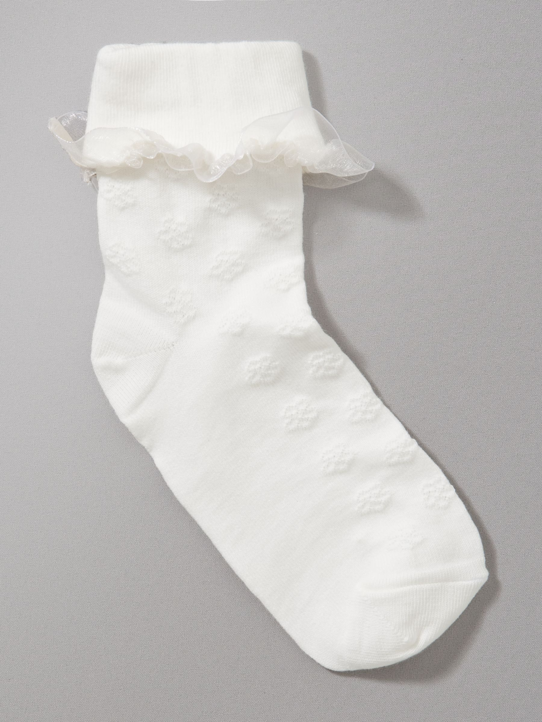 John Lewis Girl Frill Detail Bridesmaid Socks, Cream