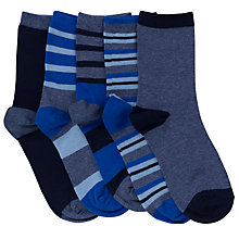 Buy John Lewis Boy Stripe Print Socks, Pack of 5, Blue Online at johnlewis.com