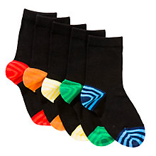 Buy John Lewis Boy Contrast Heel Socks, Pack of 5, Black/Multi Online at johnlewis.com