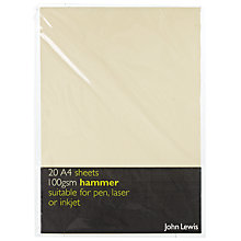 Buy John Lewis Hammer A4 Paper, Ivory, 20 Sheets Online at johnlewis.com