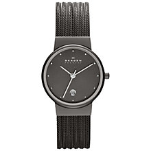Buy Skagen 355SMM1 Women's Charcoal Dial Steel Mesh Bracelet Watch Online at johnlewis.com