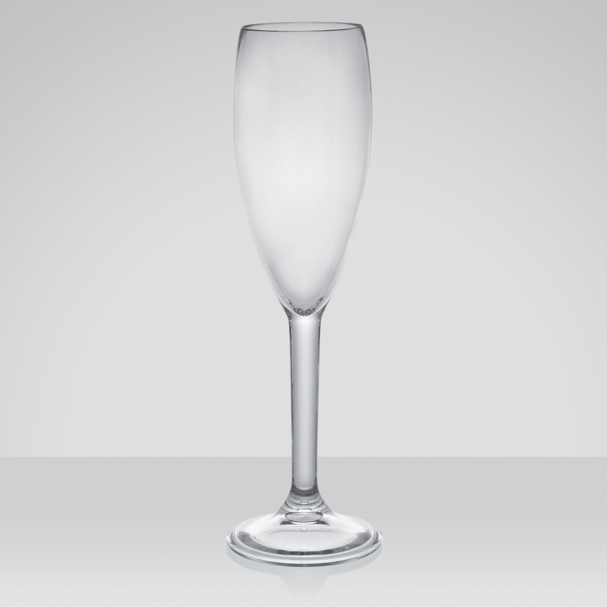 John Lewis Acrylic Champagne Flute, 0.18L, Set of 4