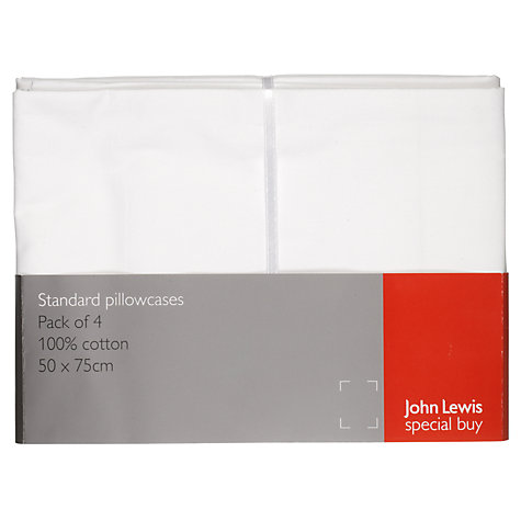Buy John Lewis White Cotton Standard Pillowcases, Pack of 4 Online at johnlewis.com