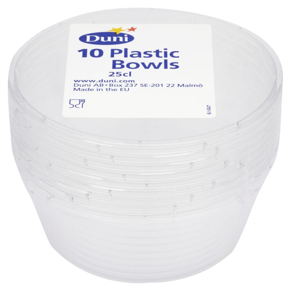 Disposable Bowls, Clear, 10pcs