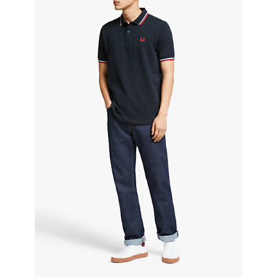 Fred Perry Twin Tipped Slim Fit Polo Shirt NavyWhiteRed