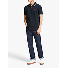 Buy Fred Perry Twin Tipped Slim Fit Polo Shirt, Navy/White/Red Online at johnlewis.com