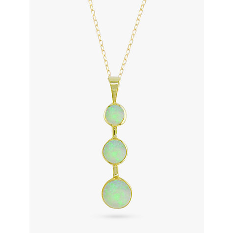 Buy EWA 9ct Yellow Gold 3 Stone Opal Drop Pendant Necklace Online at johnlewis.com