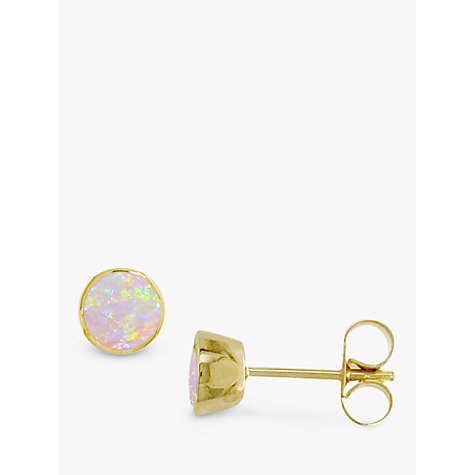 Buy EWA 9ct Yellow Gold Opal Stud Earrings Online at johnlewis.com