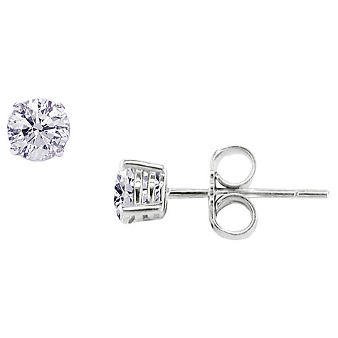 Buy 18ct White Gold Diamond Stud Earrings Online at johnlewis.com