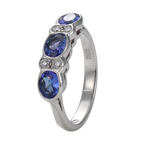 Buy EWA 18ct White Gold Seven Stone Diamond/Tanzanite Ring Online at johnlewis.com