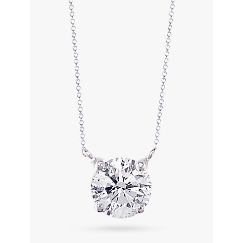 Buy EWA 18ct White Gold Diamond Solitaire Pendant Necklace Online at johnlewis.com