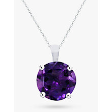Buy EWA 9ct White Gold Brilliant Cut Amethyst Pendant Necklace Online at johnlewis.com
