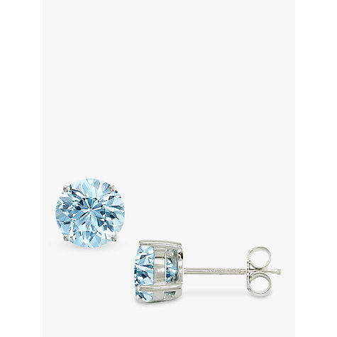 Buy EWA 9ct White Gold Brilliant Cut Aqua Stud Earrings Online at johnlewis.com