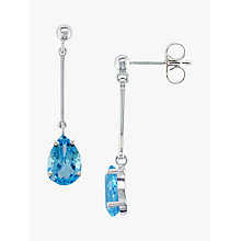 Buy EWA 9ct White Gold Long Drop Blue Topaz Drop Earrings Online at johnlewis.com
