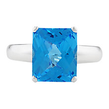 Buy London Road 9ct White Gold Cushion Blue Topaz Ring, White Gold/Blue Online at johnlewis.com